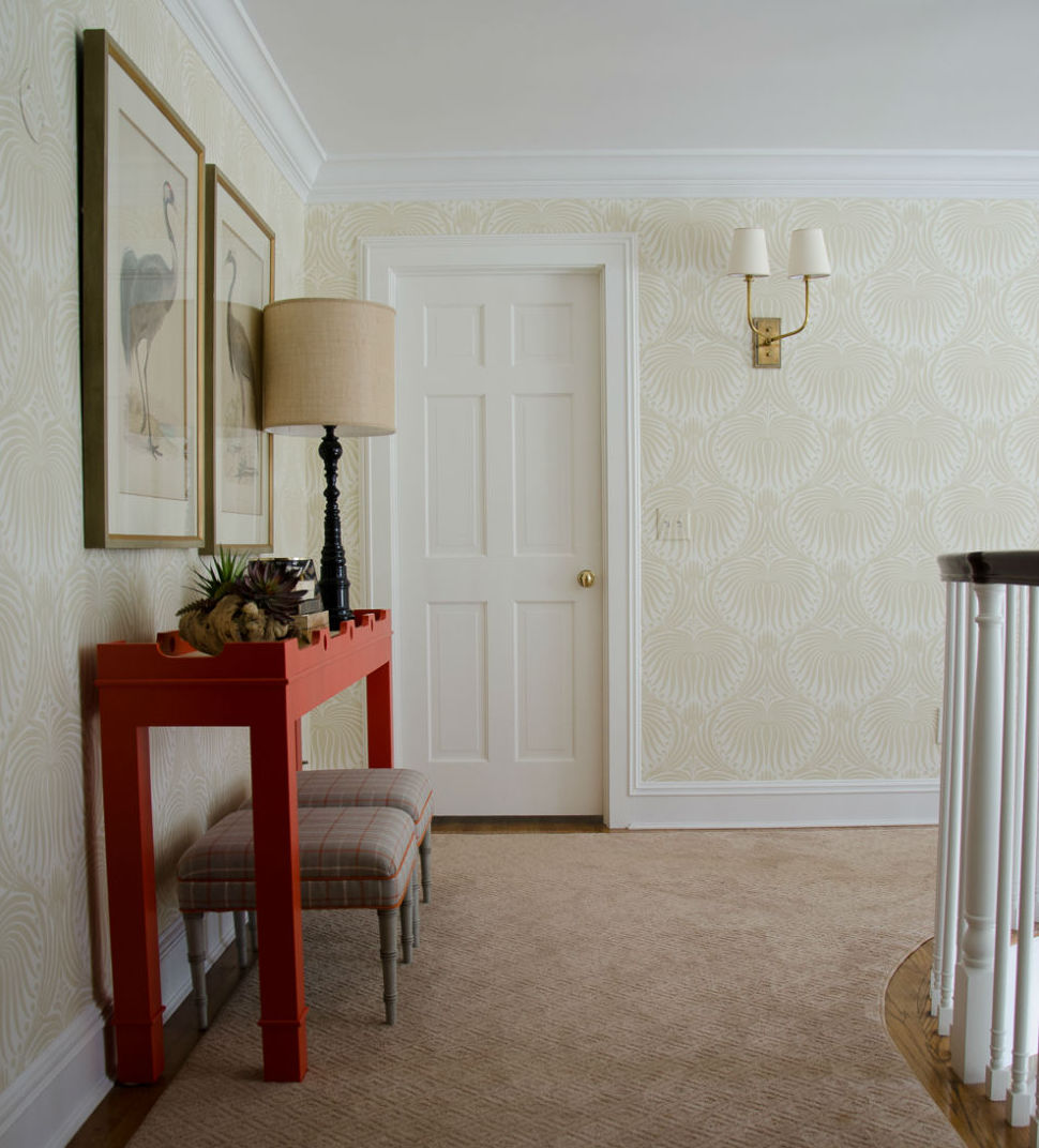 Hallway Design With Red Table