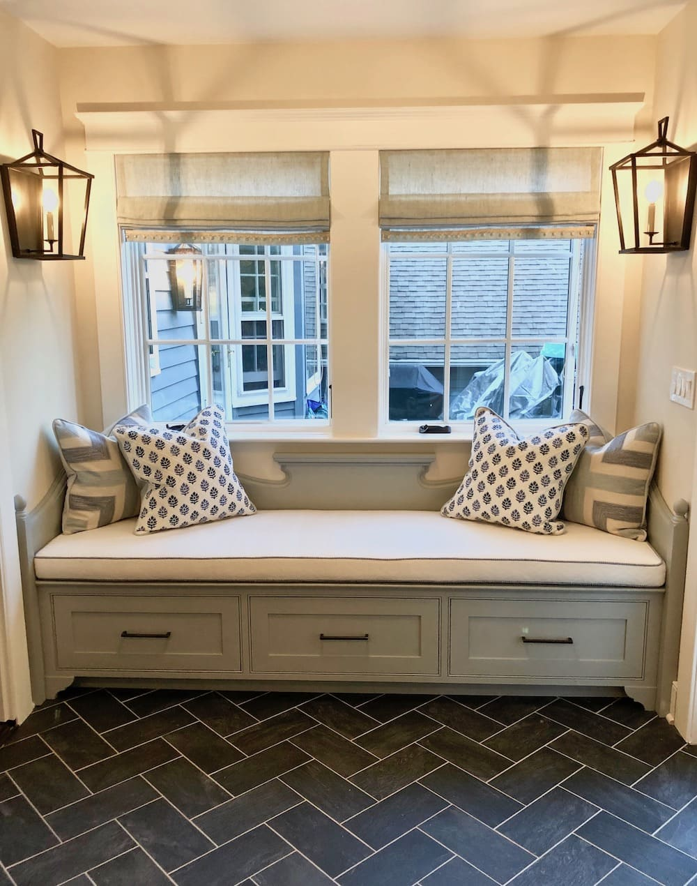 Built-In Storage Bench in sunroom