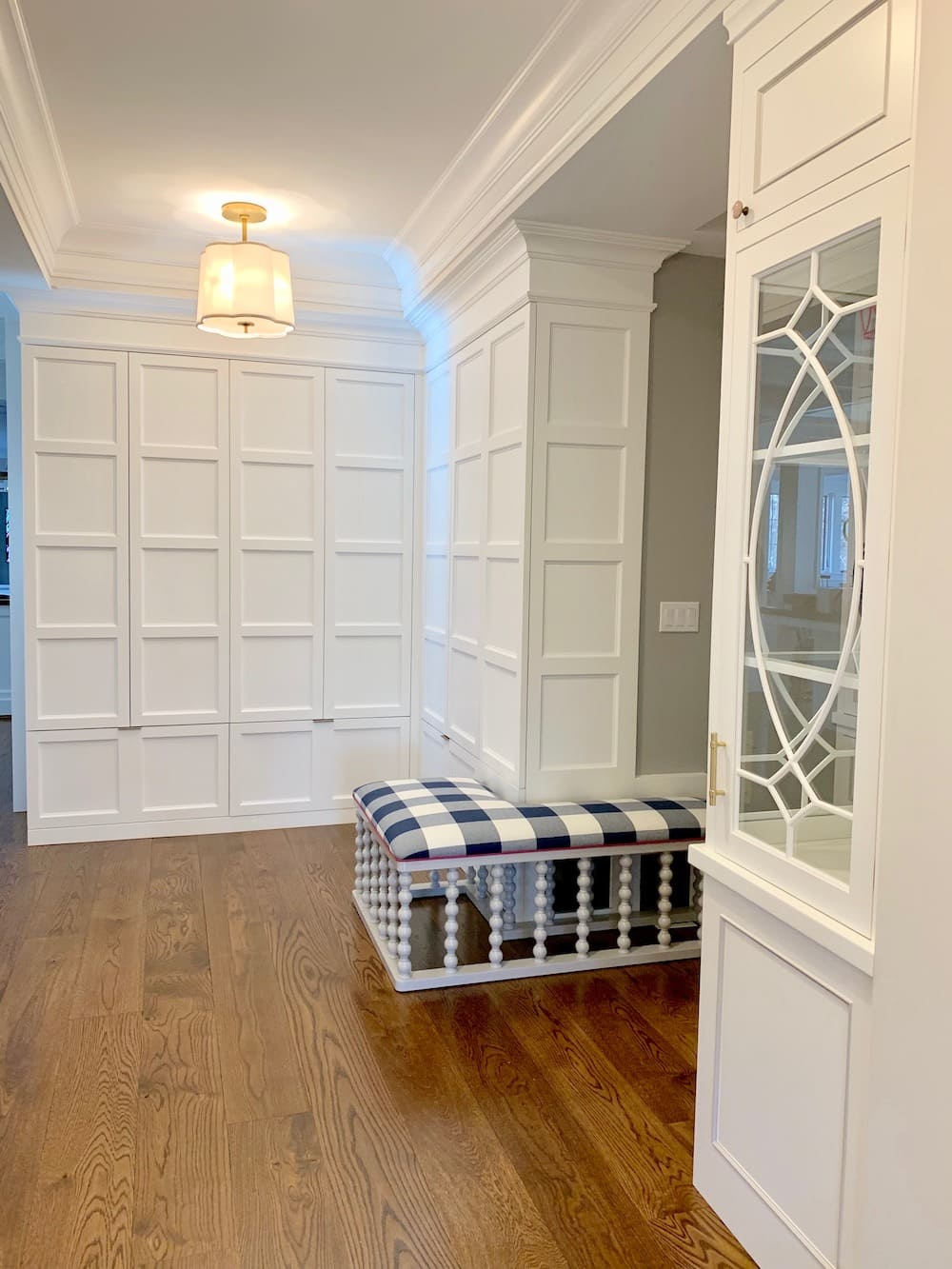 Custom Mudroom cabinets & Curio Cabinet